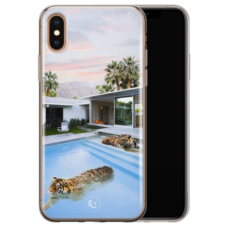 ELLECHIQ iPhone X/XS siliconen hoesje - Tiger pool