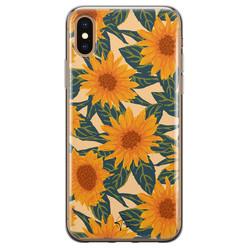 Telefoonhoesje Store iPhone X/XS siliconen hoesje - Zonnebloemen