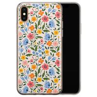Telefoonhoesje Store iPhone X/XS siliconen hoesje - Romantische bloemen