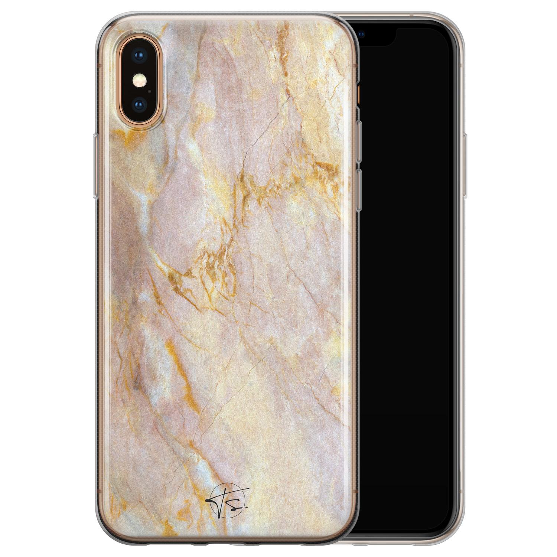 ELLECHIQ iPhone X/XS siliconen hoesje - Stay Golden Marble