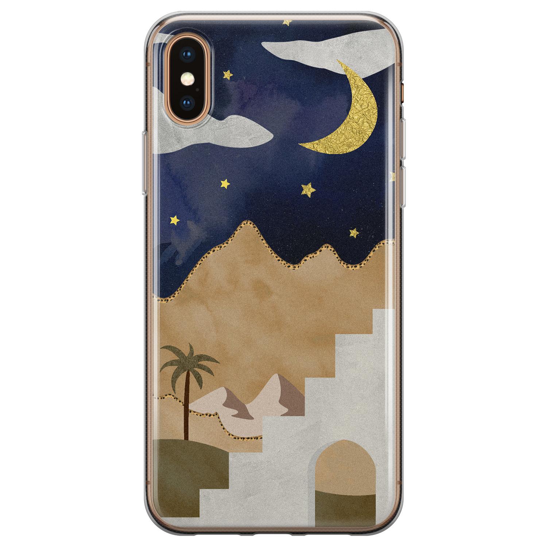 Leuke Telefoonhoesjes iPhone X/XS siliconen hoesje - Woestijn