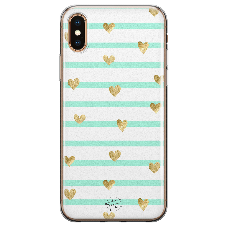 Telefoonhoesje Store iPhone X/XS siliconen hoesje - Mint hartjes