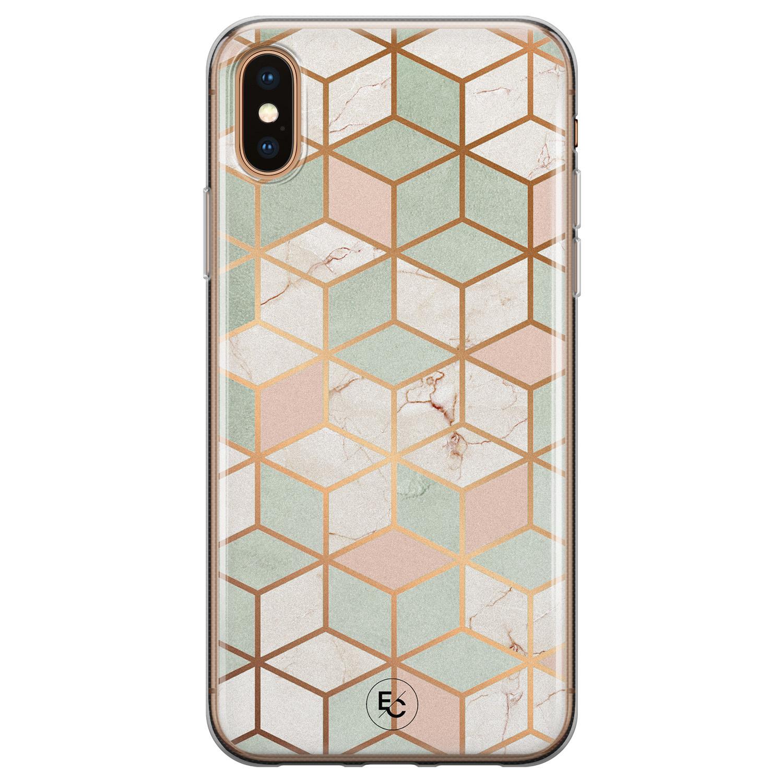 ELLECHIQ iPhone X/XS siliconen hoesje - Pastel Kubus