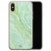 Telefoonhoesje Store iPhone X/XS siliconen hoesje - Marmer Limegroen