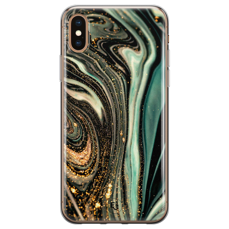 ELLECHIQ iPhone X/XS siliconen hoesje - Marble Khaki Swirl