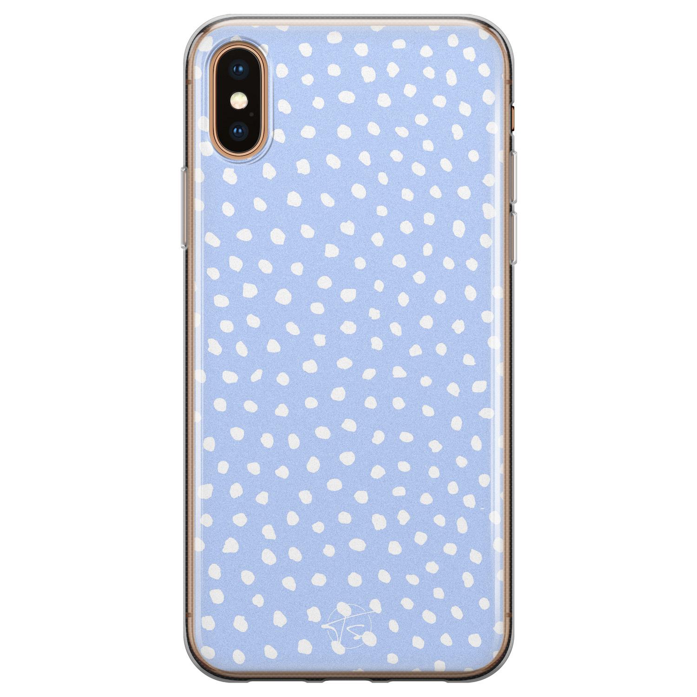 Telefoonhoesje Store iPhone X/XS siliconen hoesje - Lila stippen