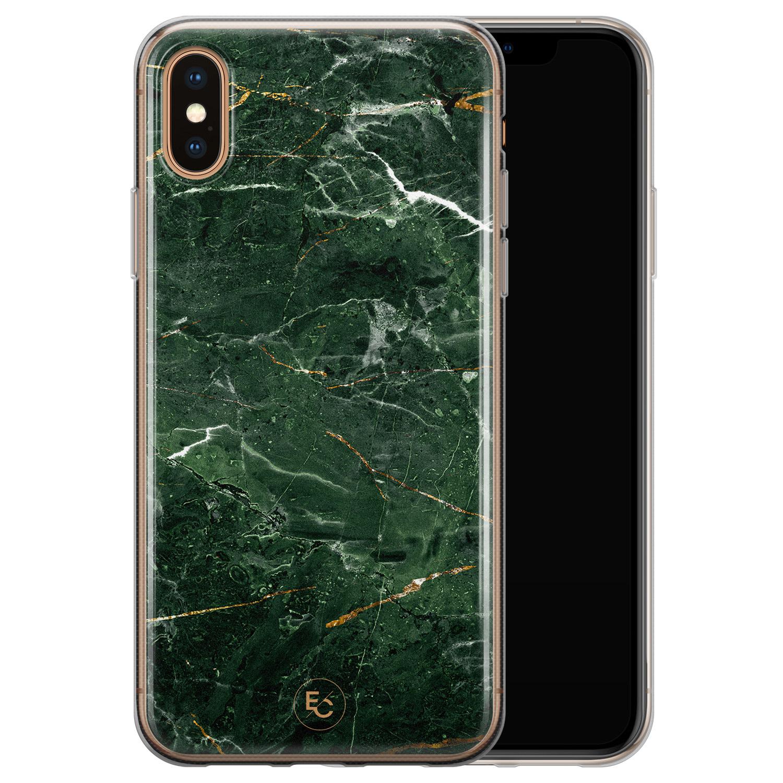 ELLECHIQ iPhone X/XS siliconen hoesje - Marble jade green