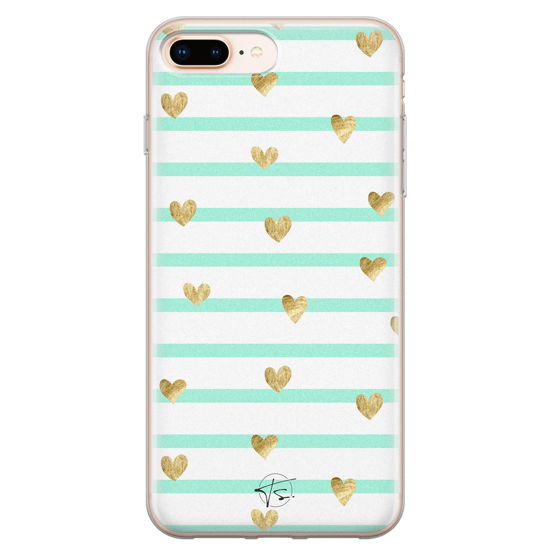Telefoonhoesje Store iPhone 8 Plus/7 Plus siliconen hoesje - Mint hartjes