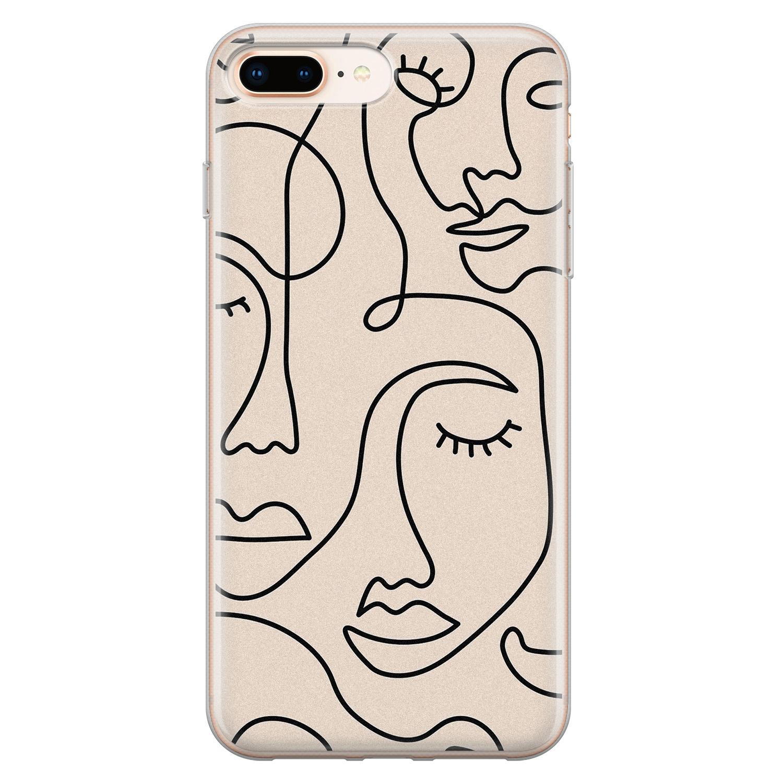 Leuke Telefoonhoesjes iPhone 8 Plus/7 Plus siliconen hoesje - Abstract face line