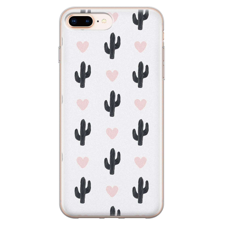 Leuke Telefoonhoesjes iPhone 8 Plus/7 Plus siliconen hoesje - Cactus hartjes