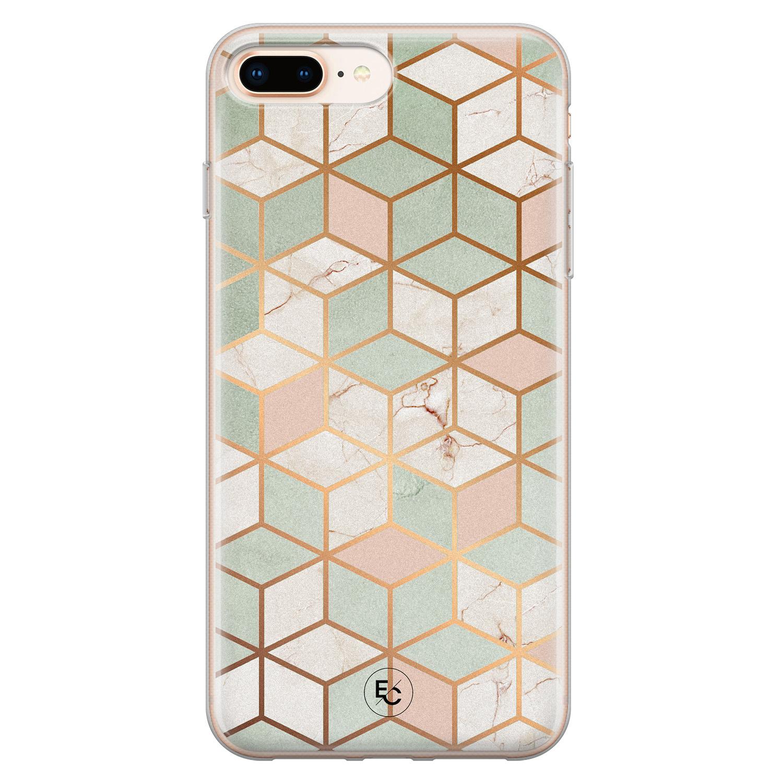 ELLECHIQ iPhone 8 Plus/7 Plus siliconen hoesje - Pastel Kubus