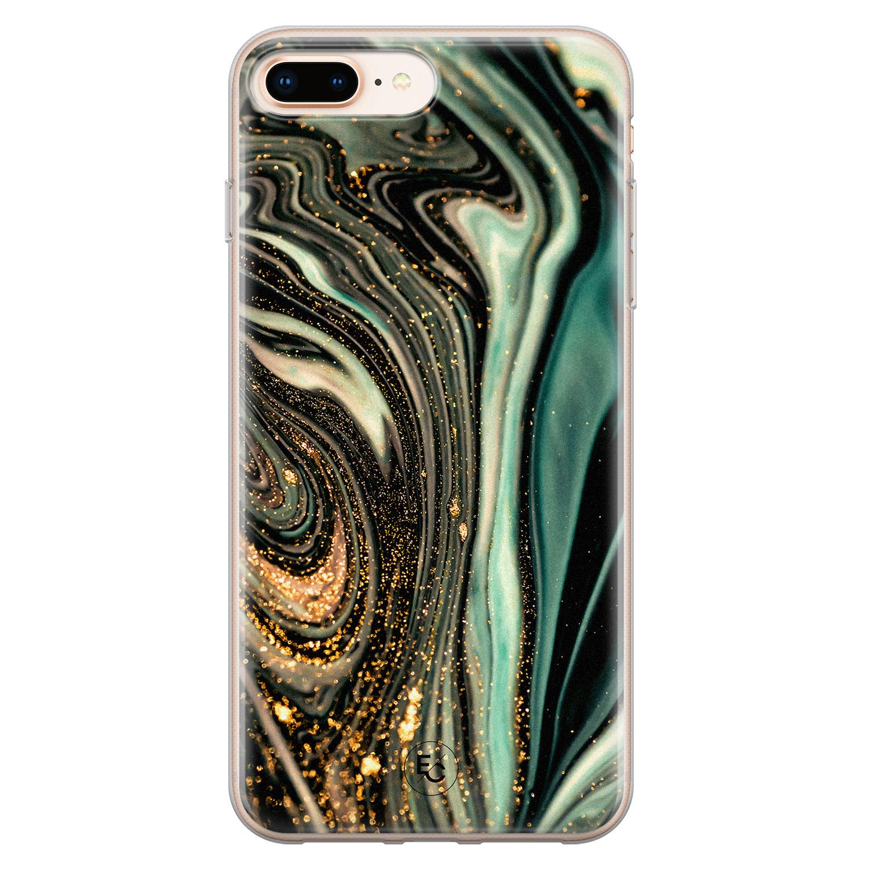 ELLECHIQ iPhone 8 Plus/7 Plus siliconen hoesje - Marble Khaki Swirl