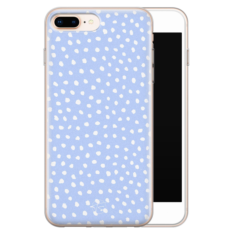 Telefoonhoesje Store iPhone 8 Plus/7 Plus siliconen hoesje - Lila stippen