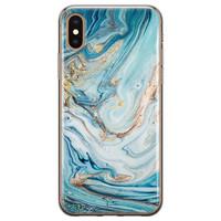 Telefoonhoesje Store iPhone XS Max siliconen hoesje - Marmer blauw goud