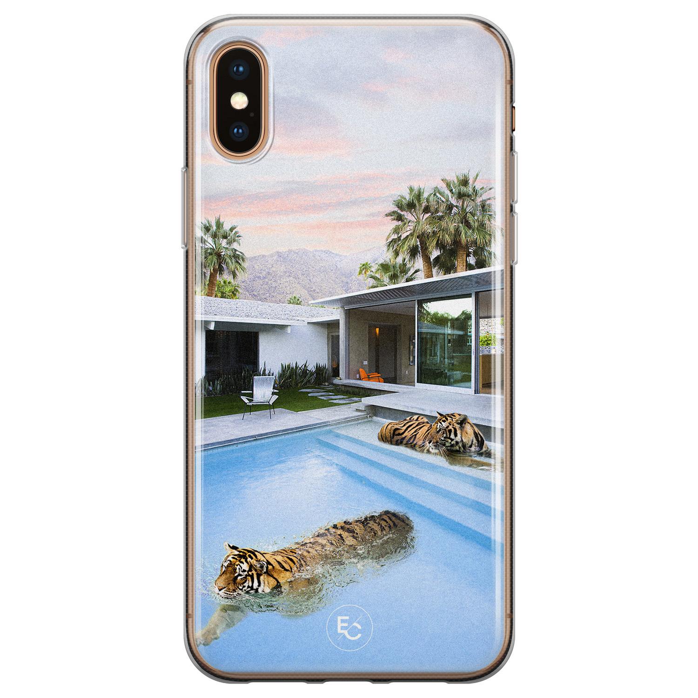 ELLECHIQ iPhone XS Max siliconen hoesje - Chill tijger
