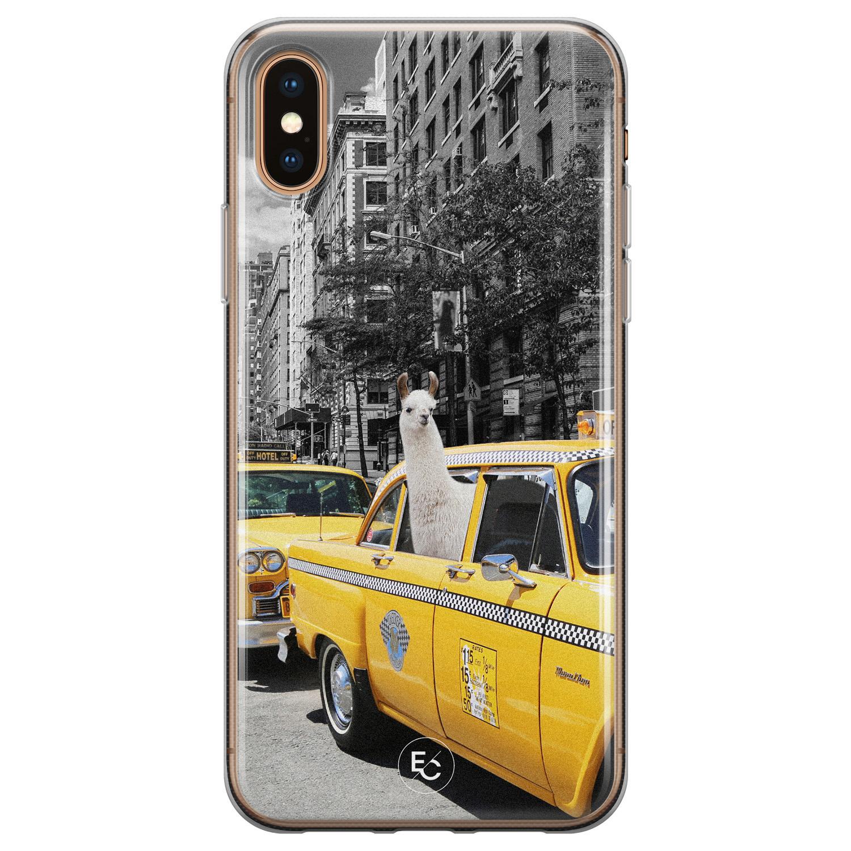 ELLECHIQ iPhone XS Max siliconen hoesje - Lama in taxi