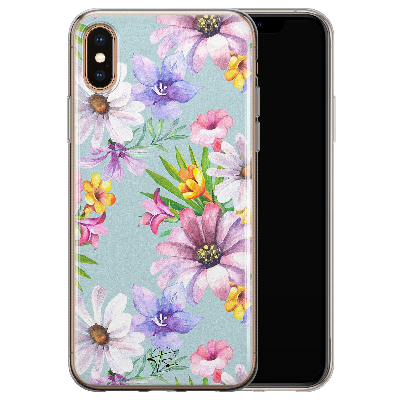 Telefoonhoesje Store iPhone XS Max siliconen hoesje - Mint bloemen