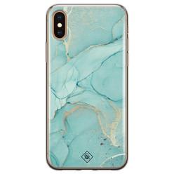 Casimoda iPhone XS Max siliconen hoesje - Marmer mintgroen
