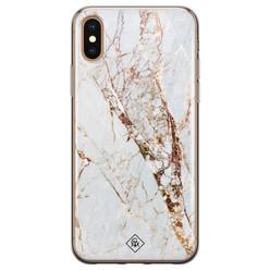 Casimoda iPhone XS Max siliconen hoesje - Goud marmer