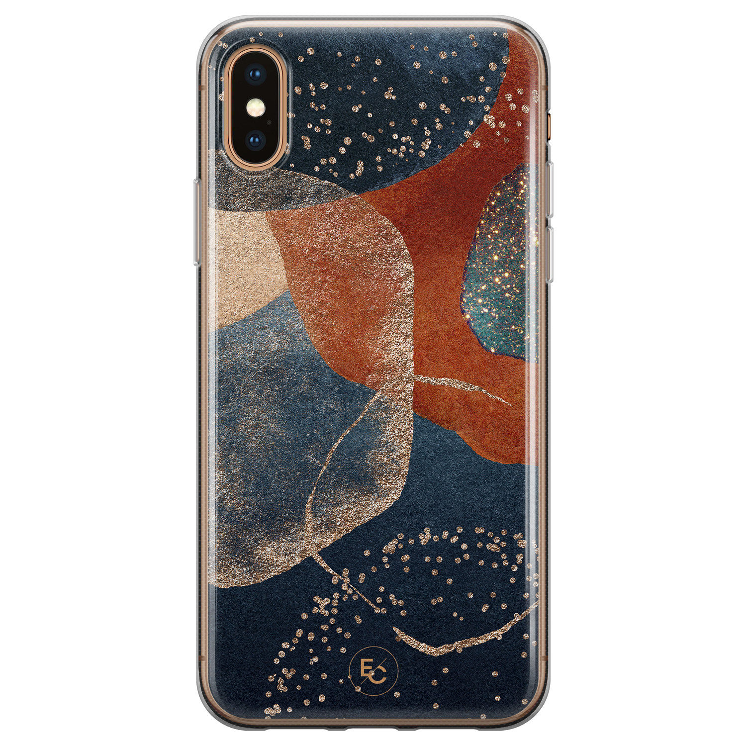 ELLECHIQ iPhone XS Max siliconen hoesje - Abstract Terracotta