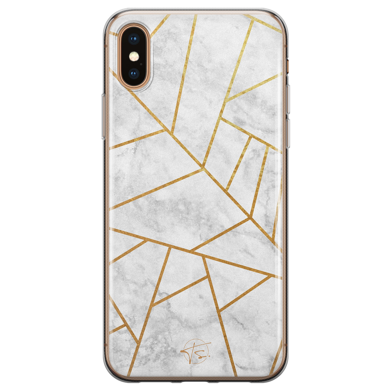 Telefoonhoesje Store iPhone XS Max siliconen hoesje - Geometrisch marmer