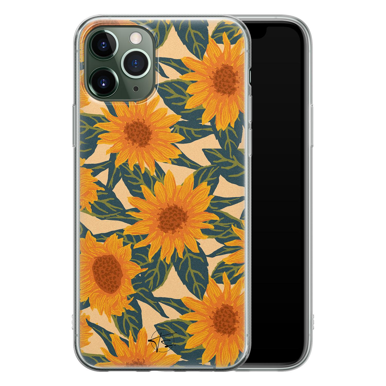 Telefoonhoesje Store iPhone 11 Pro siliconen hoesje - Zonnebloemen