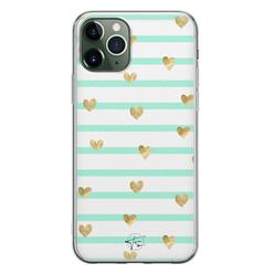 Telefoonhoesje Store iPhone 11 Pro siliconen hoesje - Mint hartjes