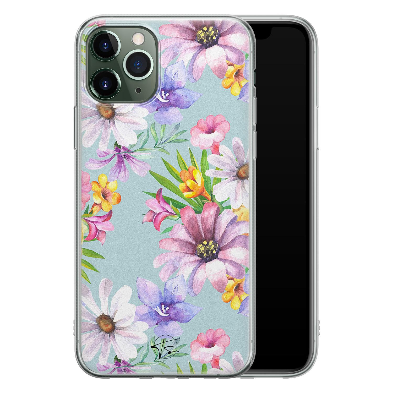 Telefoonhoesje Store iPhone 11 Pro siliconen hoesje - Mint bloemen