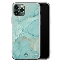 Casimoda iPhone 11 Pro siliconen hoesje - Marmer mintgroen