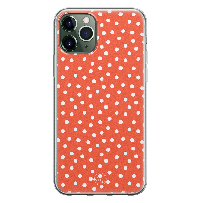 Telefoonhoesje Store iPhone 11 Pro siliconen hoesje - Oranje stippen