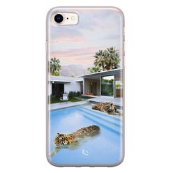 ELLECHIQ iPhone 8/7 siliconen hoesje - Tiger pool