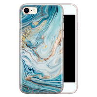 Telefoonhoesje Store iPhone 8/7 siliconen hoesje - Marmer blauw goud