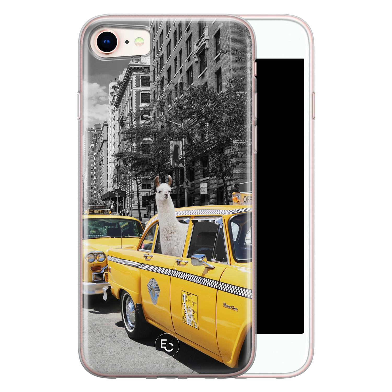 ELLECHIQ iPhone 8/7 siliconen hoesje - Lama in taxi