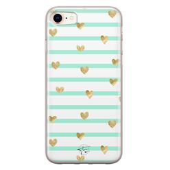 Telefoonhoesje Store iPhone 8/7 siliconen hoesje - Mint hartjes