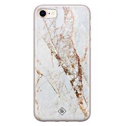 Casimoda iPhone 8/7 siliconen hoesje - Goud marmer