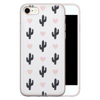 Leuke Telefoonhoesjes iPhone 8/7 siliconen hoesje - Cactus hartjes