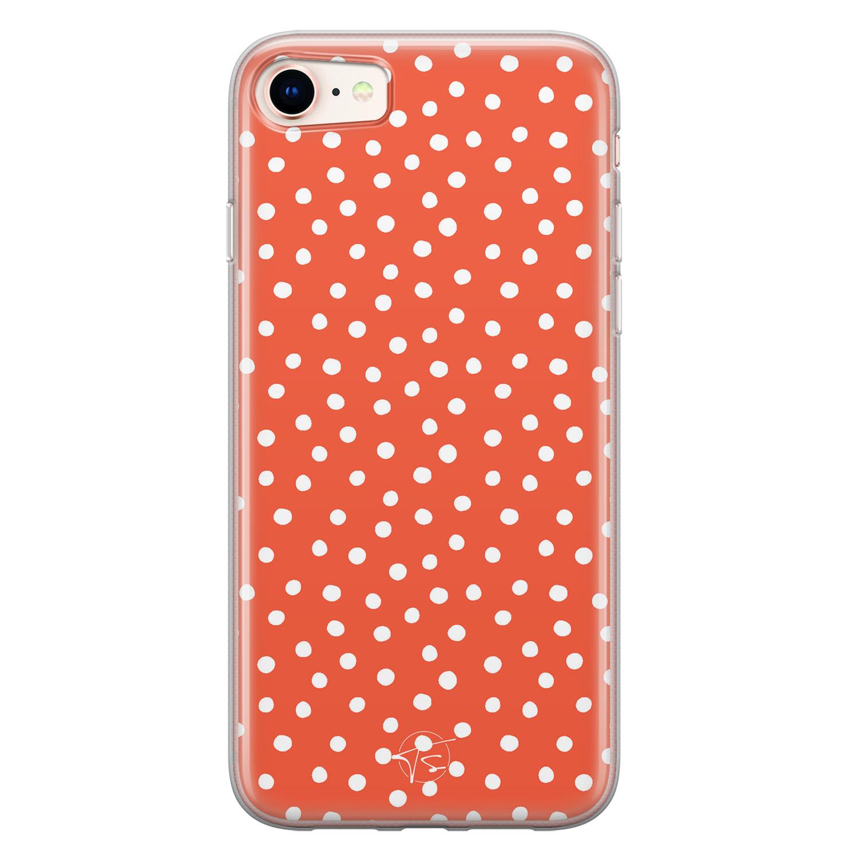 Telefoonhoesje Store iPhone 8/7 siliconen hoesje - Oranje stippen