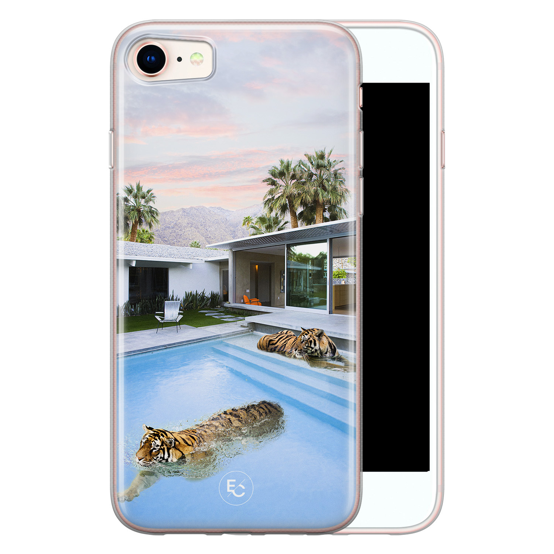 ELLECHIQ iPhone SE 2020 siliconen hoesje - Tiger pool