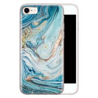 Telefoonhoesje Store iPhone SE 2020 siliconen hoesje - Marmer blauw goud