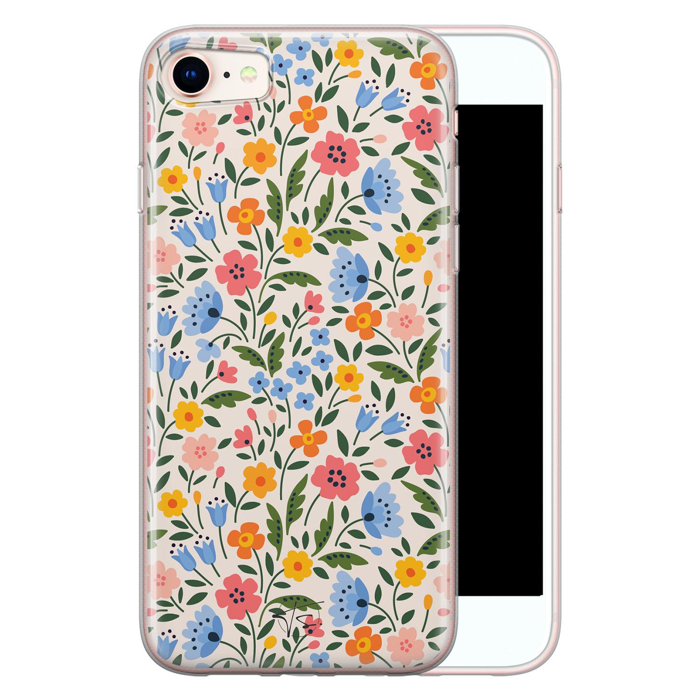 Telefoonhoesje Store iPhone SE 2020 siliconen hoesje - Romantische bloemen