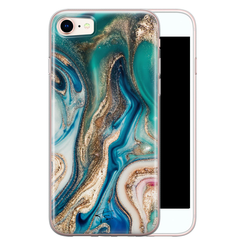 Telefoonhoesje Store iPhone SE 2020 siliconen hoesje - Magic marble