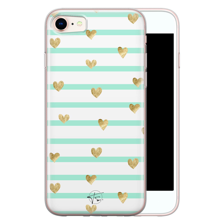 Telefoonhoesje Store iPhone SE 2020 siliconen hoesje - Mint hartjes