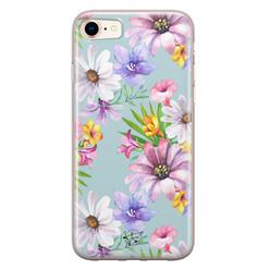 Telefoonhoesje Store iPhone SE 2020 siliconen hoesje - Mint bloemen