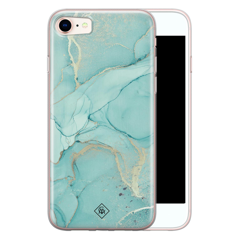 Casimoda iPhone SE 2020 siliconen hoesje - Marmer mintgroen