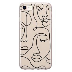 Leuke Telefoonhoesjes iPhone SE 2020 siliconen hoesje - Abstract face line