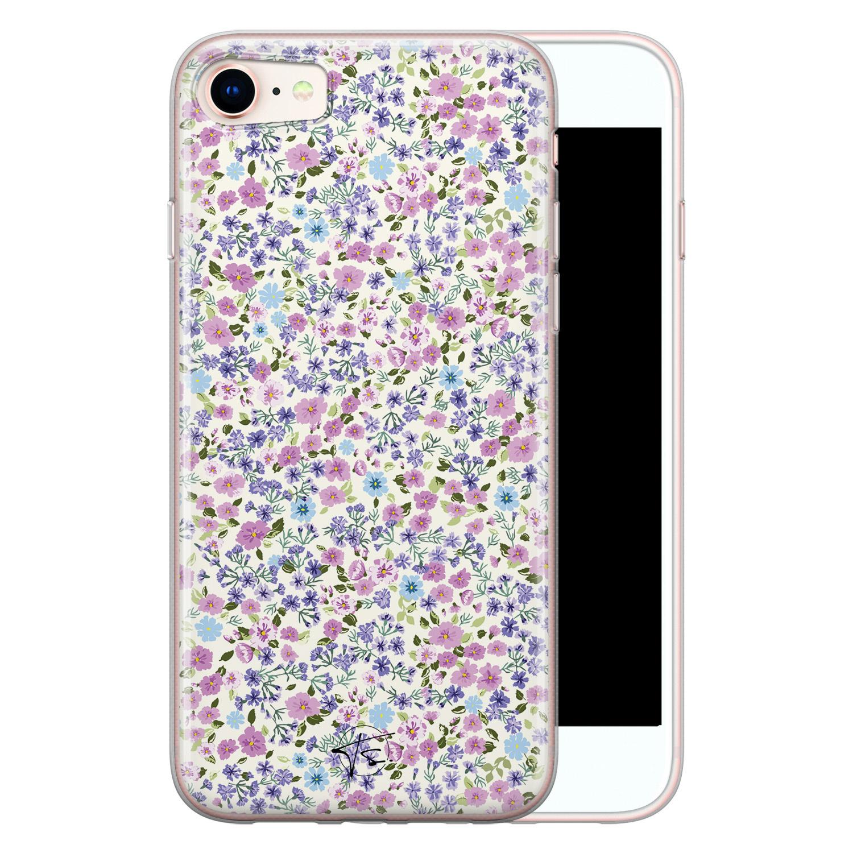 Telefoonhoesje Store iPhone SE 2020 siliconen hoesje - Purple Garden