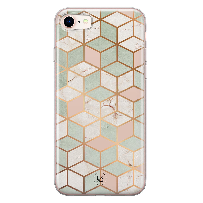 ELLECHIQ iPhone SE 2020 siliconen hoesje - Pastel Kubus