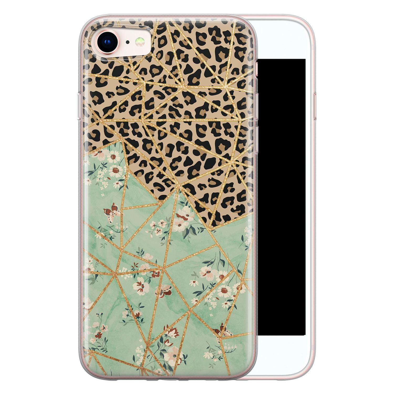 Leuke Telefoonhoesjes iPhone SE 2020 siliconen hoesje - Leo Flower