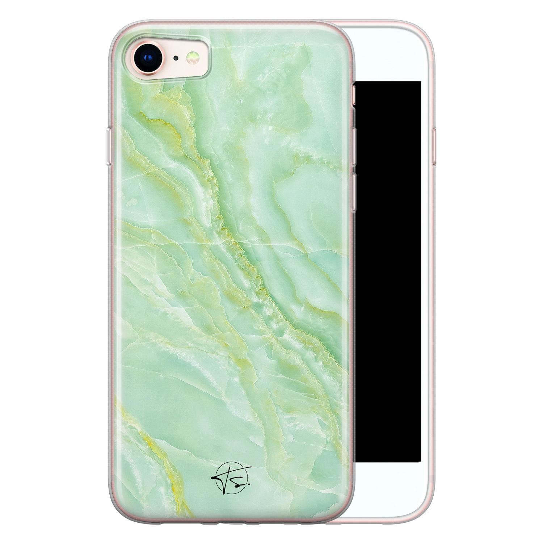 Telefoonhoesje Store iPhone SE 2020 siliconen hoesje - Marmer Limegroen