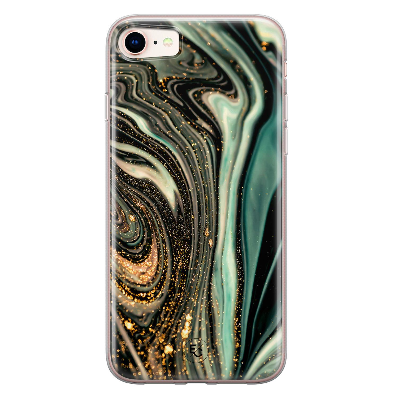 ELLECHIQ iPhone SE 2020 siliconen hoesje - Marble Khaki Swirl